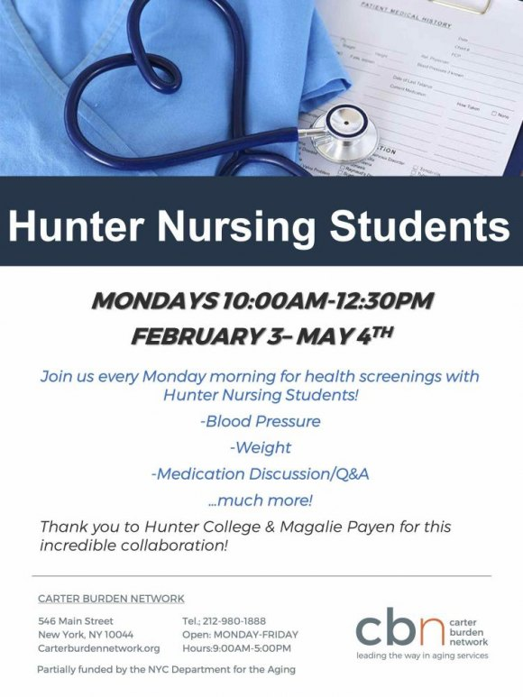 Thursdays at 9:30, Free Health Checks, Hunter College Nursing Students, CBN/RI Senior Center