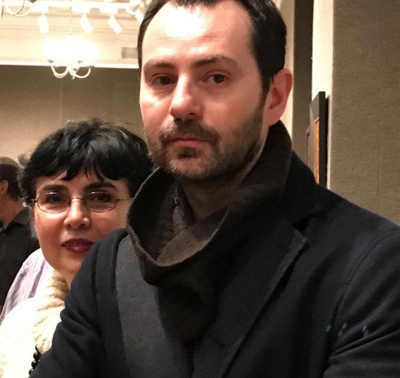 Georgette Sinclair with her son Alex at Salmagundi Club Awards, February 1st, 2018