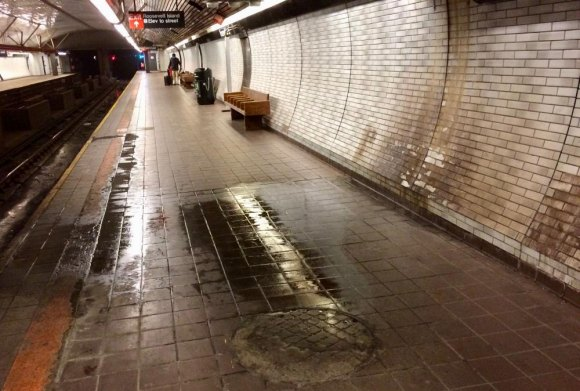 Our filthy station will still look like hell, but no trains on this platform, this weekend.