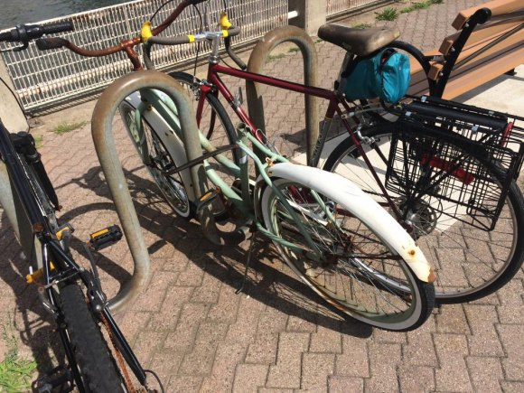 """What appears to be a long abandoned """"ghost bike"""" on the West Promenade."""