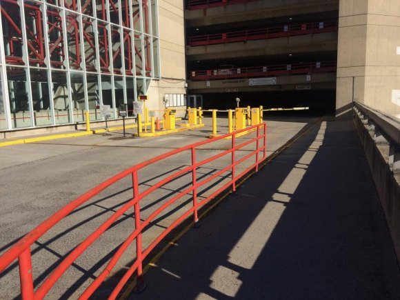 Existing bike lane offers easy access to Motorgate and the street via ramp or elevator.