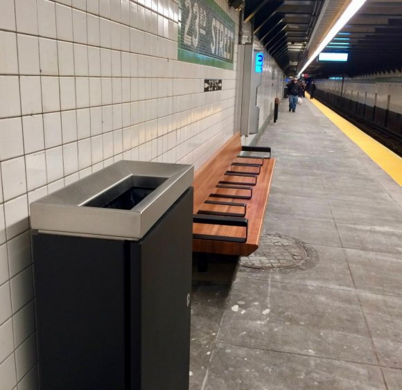 New fixtures refresh tired benches and industrial waste cans.