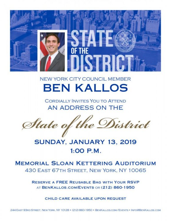 "TODAY at 1:00: You're Invited, Ben Kallos ""State of the District"""