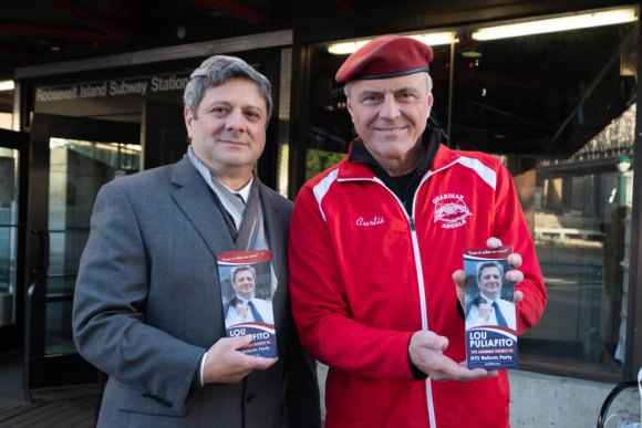 Lou Puliafito at Roosevelt Island Subway with Reform Party Chair Curtis Sliwa, founder of the Guardian Angels.