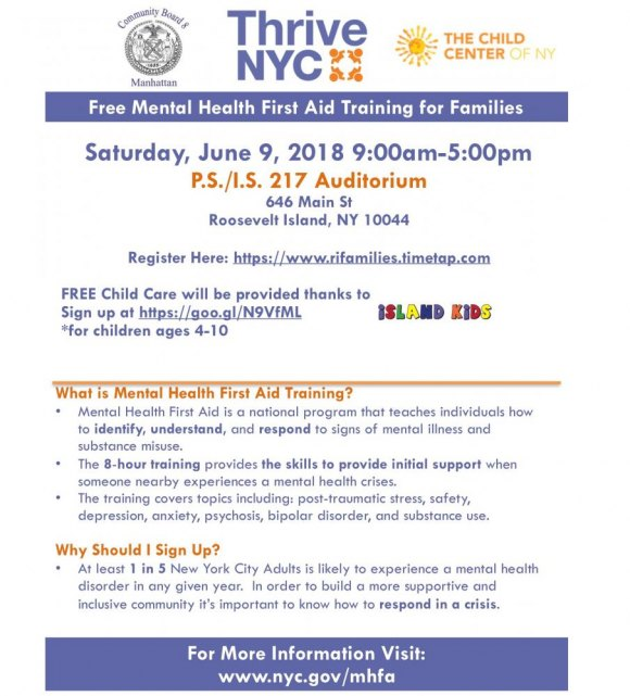 Saturday, June 9th, Free, Mental Health First Aid Training for Families