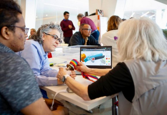 At Cornell Tech, Make Lab contributors demonstrate collaborative products created from Roosevelt Island ideas.