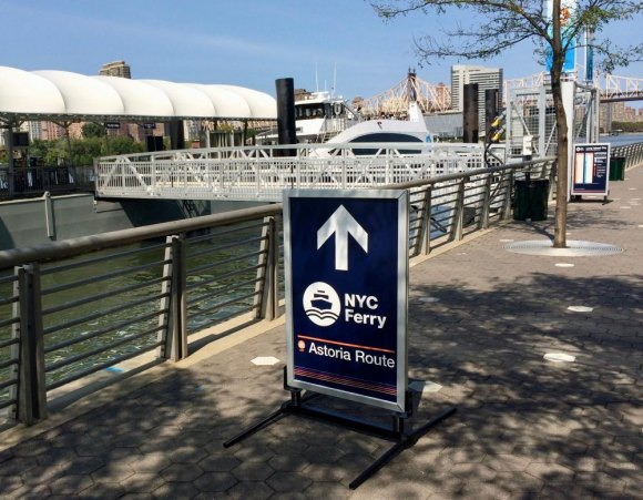 The Gantry Park stop on the NYC Ferry Astoria Line is just a quick hop across from Roosevelt Island.