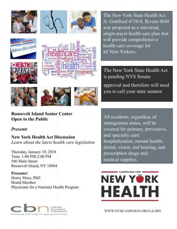 A single payer health care plan for New York? Learn more on January 10th