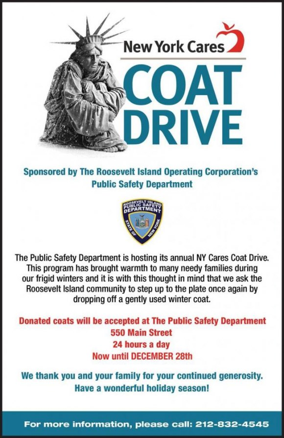 Until December 28th, PSD's Annual New York Cares Coat Drive