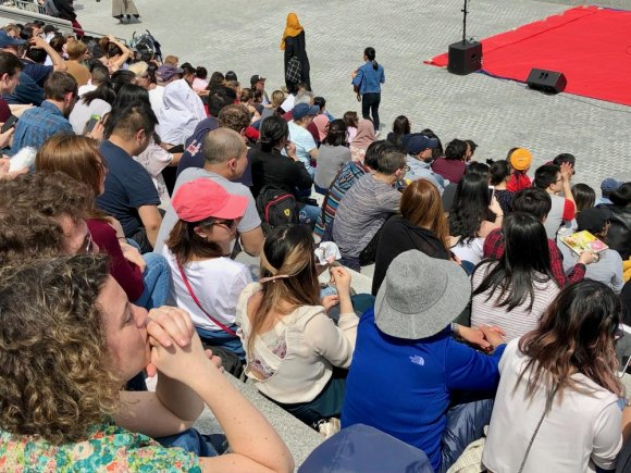 Performance audience filled the steps in FDR Four Freedoms Park.
