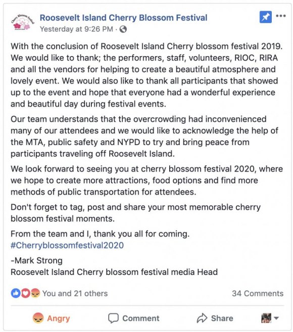 The Cherry Blossom Festival posted a cheery note on Facebook.
