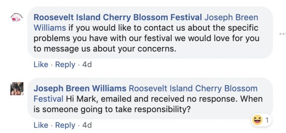 Cherry Blossom Festival Committee's attempts to placate residents rang hollow as time passed.