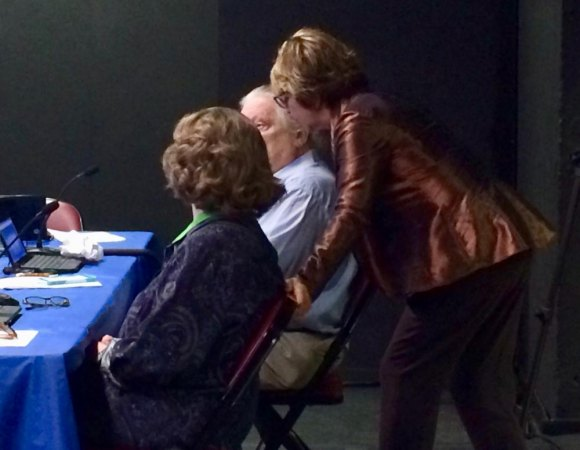 RIOC President/CEO Susan Rosenthal huddling with Board Members Margie Smith and David Kraut in 2018.
