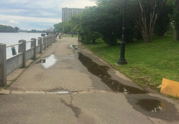 West Promenade daily flooding by RIOC, still standing at 3:00 p.m., 8 hours later...