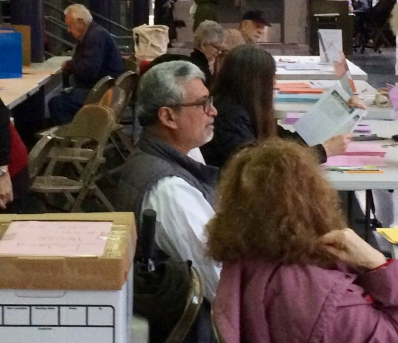 Volunteers staffed Roosevelt Island Resident Association voting.