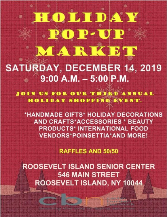 December 14th: Holiday Pop Up Market/Roosevelt Island Senior Center