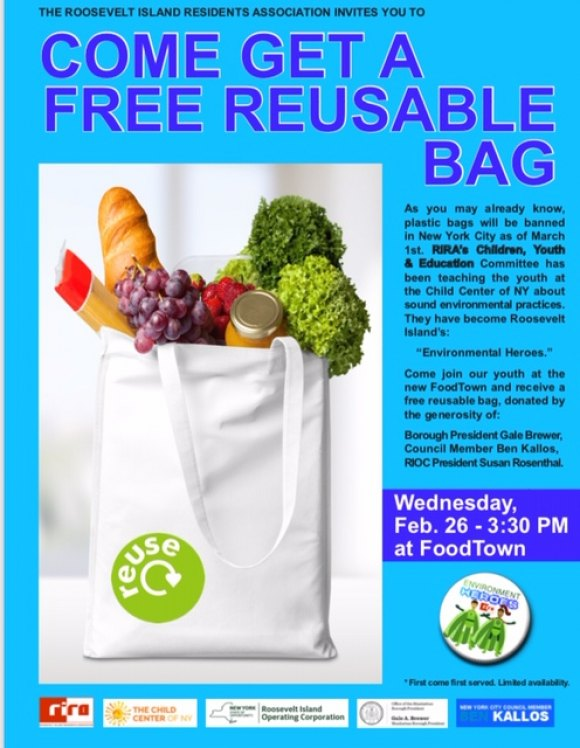 RIOC Announces Foodtown Reusable Bag Giveaway, Wednesday