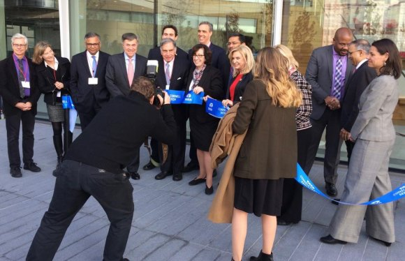 Ribbon-cutting at dedication of the Tata Innovation Center on Cornell Tech's Roosevelt Island Campus, December 4th, 2019.