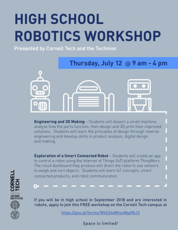 July 12th, High Schoolers, Attend a Free Robotics Workshop at Cornell Tech