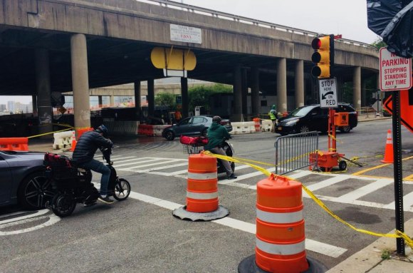 Essential Roosevelt Island Helix repairs clogged traffic in June, 2018.