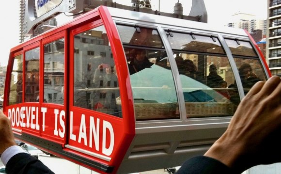 Roosevelt Island Tram arrives at Second Avenue.