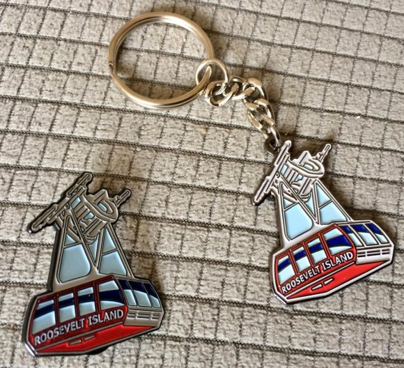 Great gifts in small packages, Roosevelt Island Tram buttons and keychains, lightweight and durable.