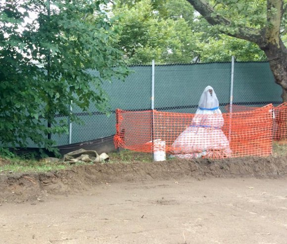 "Contrary to DEP promises, ""Sabrina,"" wrapped in plastic, along with picnic tables and grills were consumed inside the construction zone."
