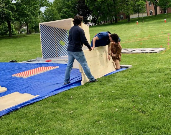 FIGMENT NYC 2019 advance crew begins setting up its main structure, this week.