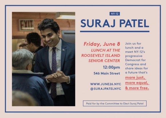 June 8th, Friday, Suraj Patel, Candidate for Congress at CBN/RI Senior Center