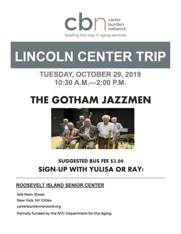 October 29th, Lincoln Center Trip To See The Gotham Jazzmen
