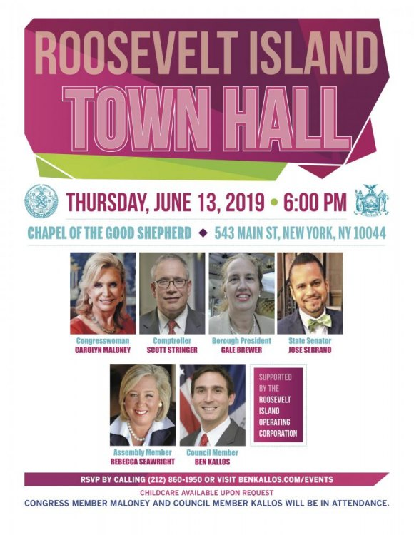 TODAY: Roosevelt Island Town Hall with Ben Kallos, Carolyn Maloney