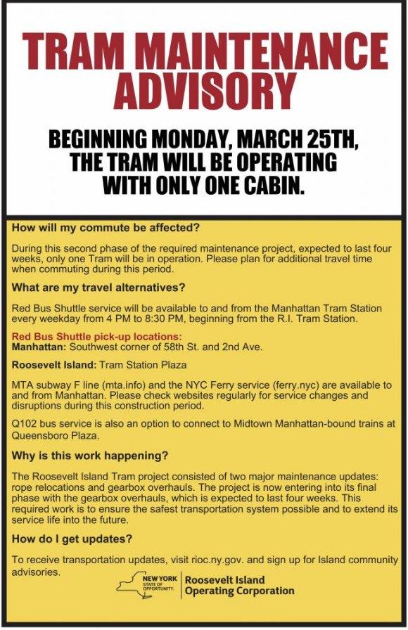 Tram Returns to Single Cabin Service Monday