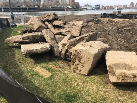 Foundations uprooted in Lighthouse Park bridge replacement project.