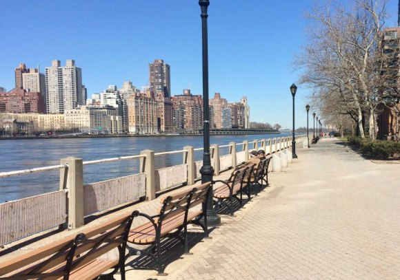 Promenade Upgrade: World's Fair style benches made watching the river flow and the skyline more enjoyable than ever, courtesy of RIOC.