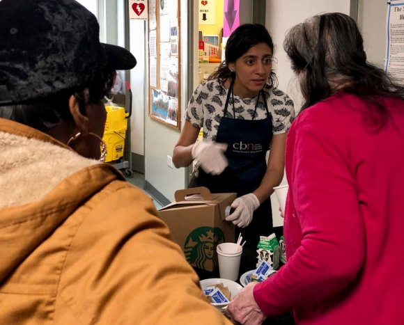 A key to CBN's success on Roosevelt Island, Community Outreach Director Yulisa Santana served coffee supplied by Starbucks.