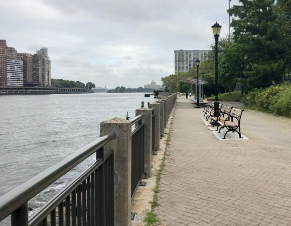 Even on a cloudy day, sleek new seawall railings upgrade the West Promenade.