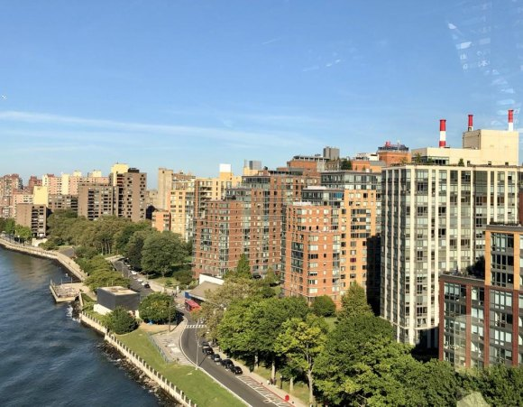 Water towers cap the skyline on Roosevelt Island.