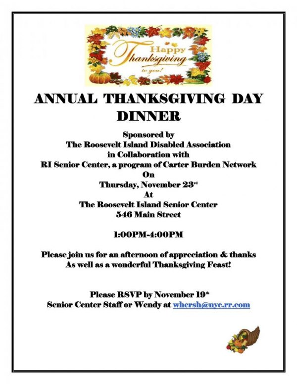 Thursday, November 23rd, Thanksgiving Celebration, Disabled and Seniors at the Senior Center