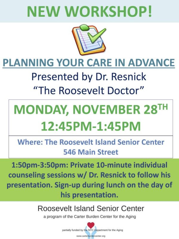Plan Your Care In Advance with Dr. Jack Resnick at the Senior Center