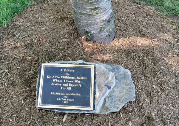 Alice Childress Memorial Plaque in its new home.