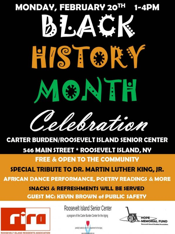 TODAY, Black History Month Celebration at the Carter Burden/RI Senior Center