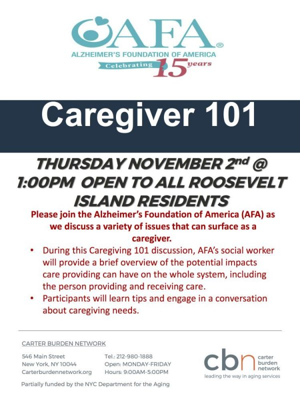 Thursday, November 2nd, Caregiver 101 at CBN/RI Senior Center