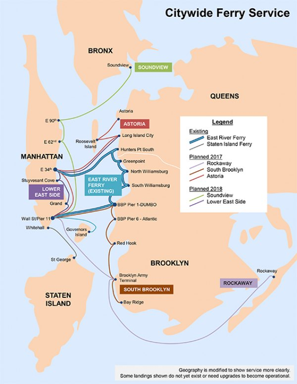 Ferry Service Map, As Proposed Today