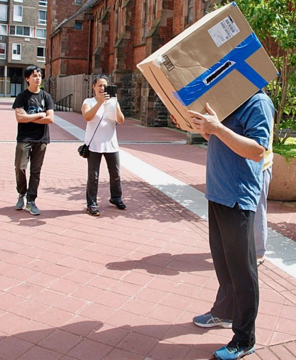 Amazon box technology, we're told, featuring Owen Johnston whose head is safely inside this finely tuned instrument.
