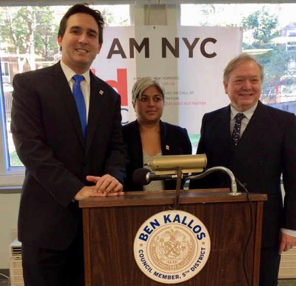 With Carter Burden Network's Bill Dionne, Kallos welcomed IDNYC to Roosevelt Island.