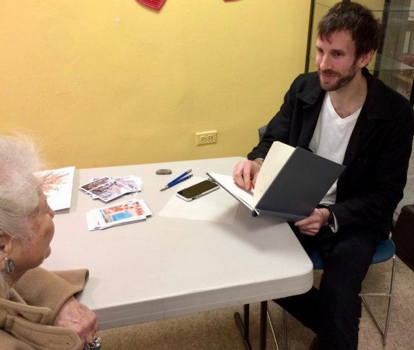 Michael Sherman works on a sketch in an early visit to the Senior Center.
