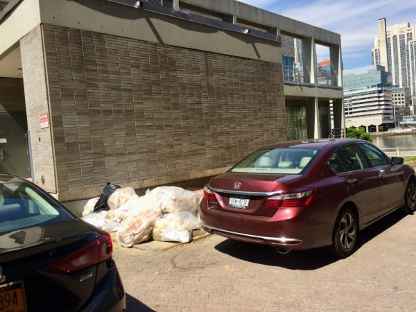 Last month, before the story broke, a common scene of food trash left out for rats and a car parked illegally, blocking DOS pick up.
