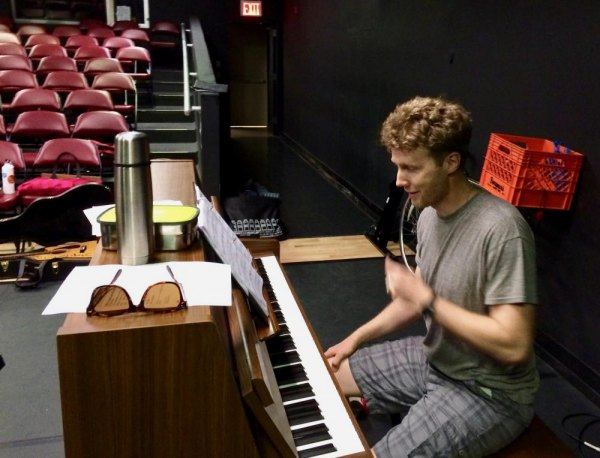 "Common Man Musicals founder and musical director Jonathan Fadner at rehearsals for ""You Can Always Come Home"" in June."