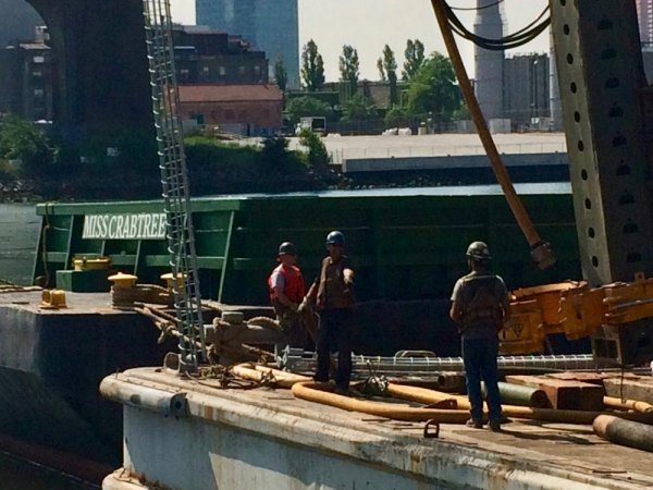 Roosevelt Island Ferry Landing under construction earlier this month.