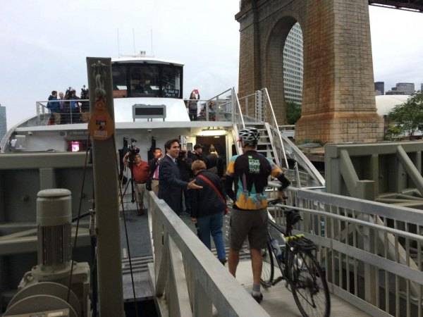 And they kept coming, bicycles and all, as banks of cameras rolled.